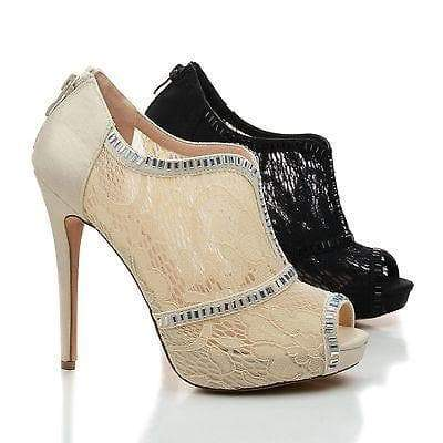 Eternity71X Nude Lace By Blossom, Rhinestone Studded Lace Platform Stiletto Dress Heels