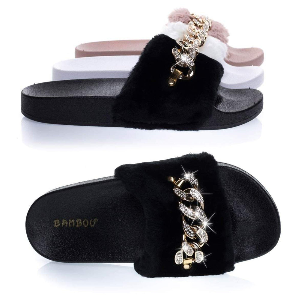 Flatter16 Furry Slip On Slipper Footbed Molded Platform & Rhinestone Metal Chain