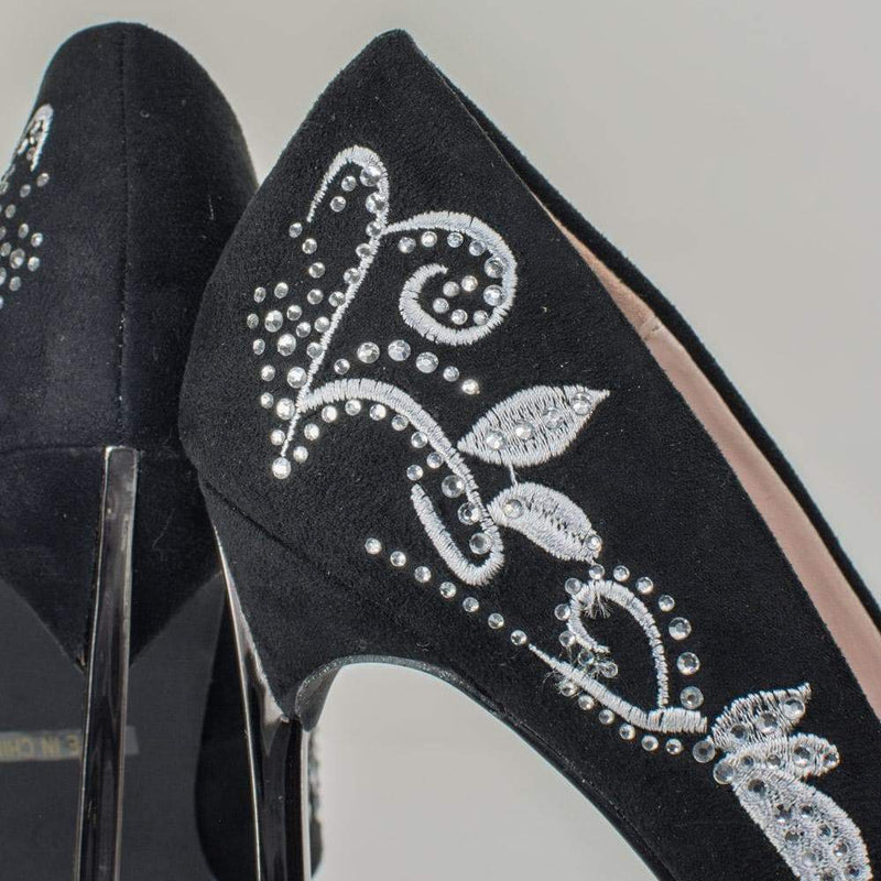 Janice12 by Blossom Pump In Metallic Embroidery w Rhinestone Embellishment & Metal High Heel