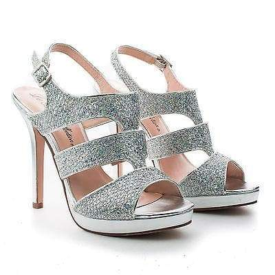 Kimi25 By Blossom, Sling back Dazzling Glitter Cluster Cut Out Strappy Stiletto Heels