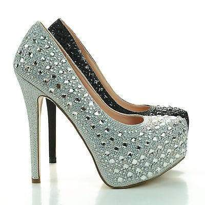 Kinko43 Silver By Blossom, Rhinestone Encrusted Shimmering Close Toe Party Pump