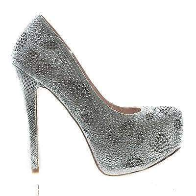 Kinko5 Silver By De Blossom, High Heel Stiletto Pump Rhinestone Studded Closed Toe Women Shoe