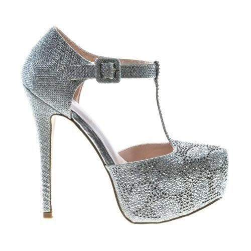 Kinko8 Silver By De Blossom, Dress Pointed Toe T-Strap Rhinestone Studded Stiletto Heel Sandal