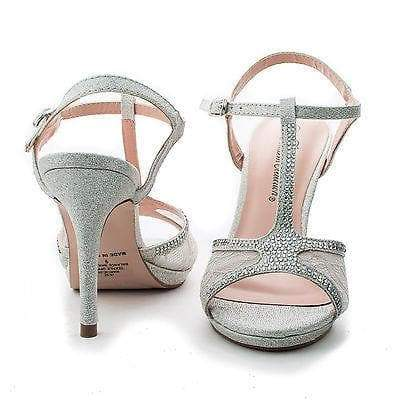 Marcie28 Nude Lace By Blossom, Lace & Rhinestone T-Strap Sling back Stiletto Sandals