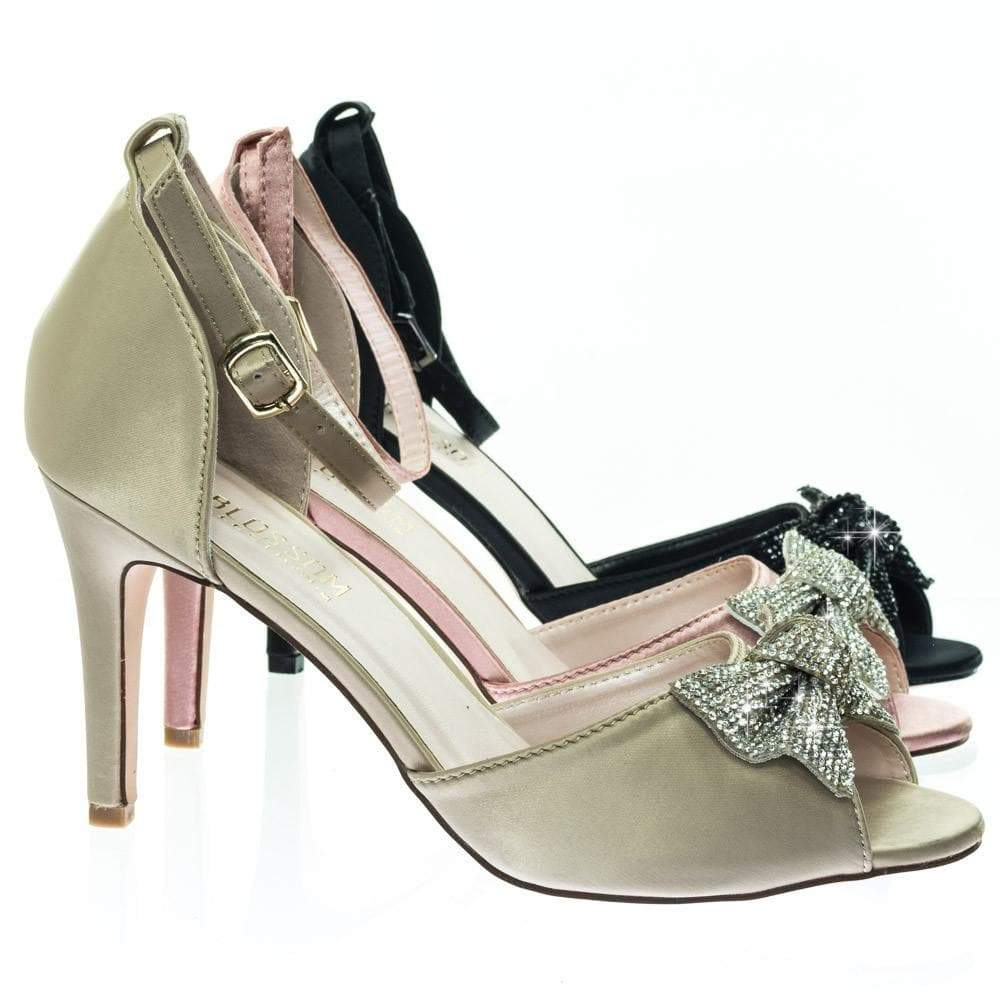 Paris15 by Blossom Rhinestone Bow Satin Peep Toe Open Shank D'Orsay Cutout Dress Pump