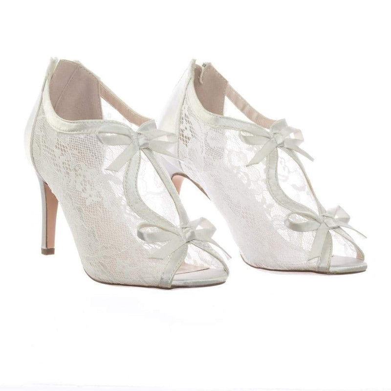 Paris17 WhtLace Satin Floral Lace Bridal Wedding Peep Toe High Heel Dress Pump Sandal