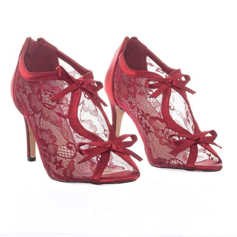 Paris17 RedLace Satin Floral Lace Bridal Wedding Peep Toe High Heel Dress Pump Sandal