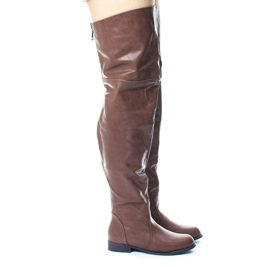Renee16W Slouchy Over Knee Thigh High Western Riding Boot, Extra Wide Calf