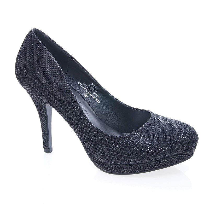 Robin23 Black By Blossom, Mesh Glitter Round Toe Low Platform Stiletto Heel Pump