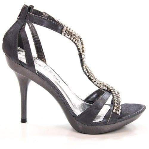 Sanyo54 Pewter Satin By Blossom, Rhinestone Encrusted Strappy Open Toe Formal Sandal