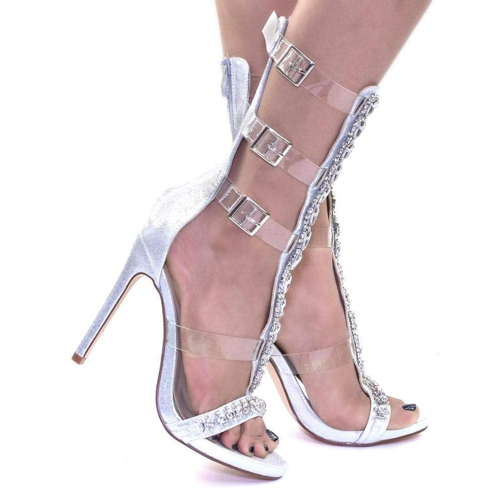 Xana1 by Blossom Rhinestone Crystal Jewel Embellished Calf High Dress Sandal w Lucite Strap
