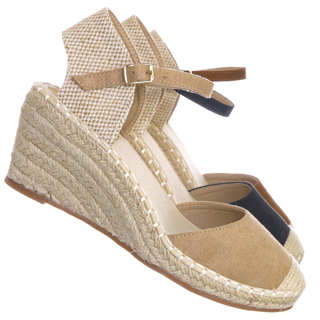Natural Beige / Ana1 Natural Espadrille Platform Wedge Heel Sandal - Women Backless Ankle Strap Cap Toe