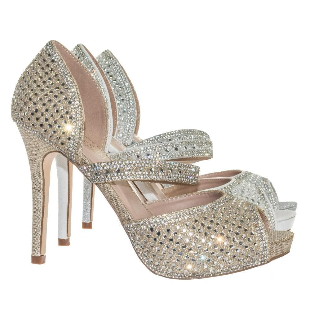 Barbara85 by Bonnibel Pearl Rhinestone Crystal Embellished Peep Toe D'Orsay Mary Jane Pump