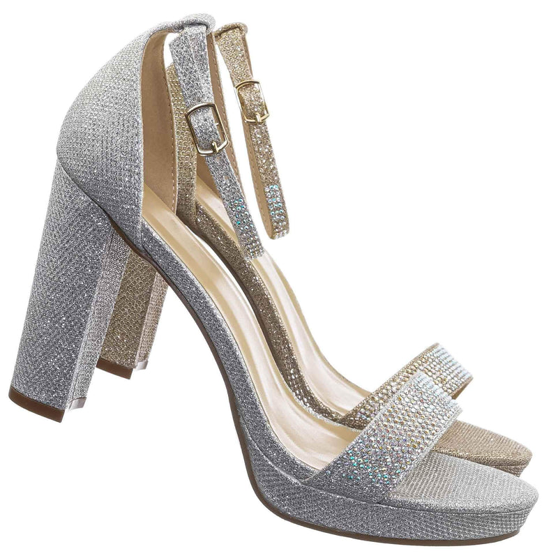 Silver Glitter / Charvi1 Rhinestone Crystal Chunky Heel Sandals - Womens Open Toe Party Shoes