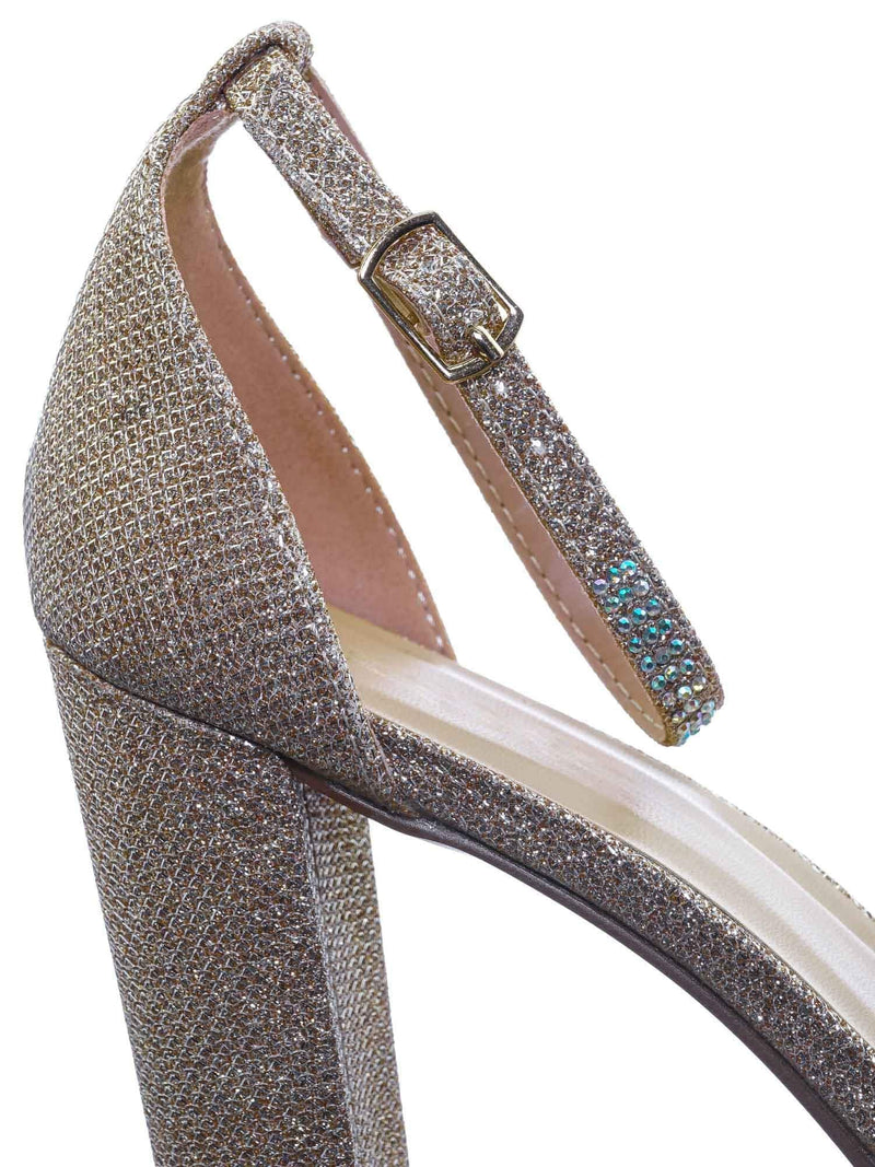 Champagne Gold / Charvi1 Rhinestone Crystal Chunky Heel Sandals - Womens Open Toe Party Shoes