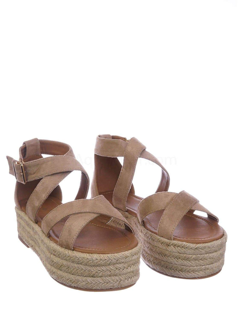 Natural Beige / Fatima1 Natural Wrapped Espadrille Jute Flatform Sandal - Summer Open Toe Braided Shoe