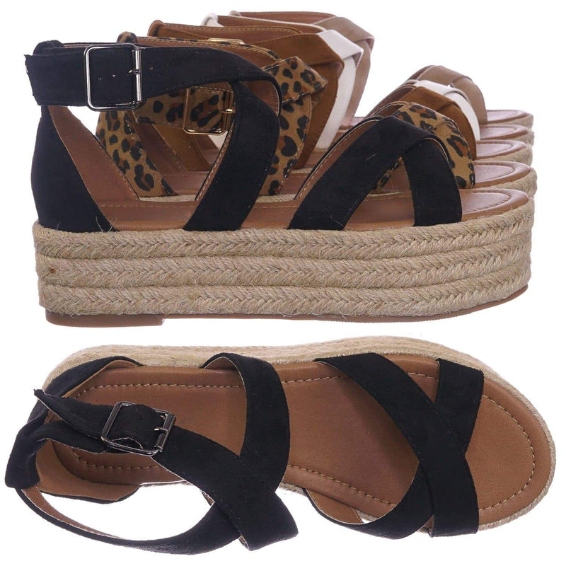 Black Pu / Fatima1 Black Wrapped Espadrille Jute Flatform Sandal - Summer Open Toe Braided Shoe
