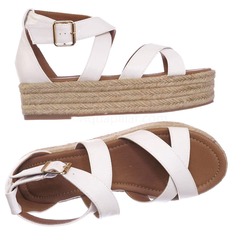 White Pu / Fatima1 WhtPu Wrapped Espadrille Jute Flatform Sandal - Summer Open Toe Braided Shoe