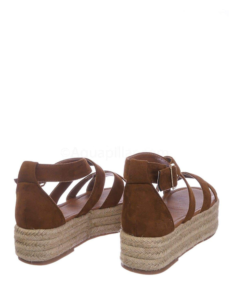 Tan Brown / Fatima1 Tan Wrapped Espadrille Jute Flatform Sandal - Summer Open Toe Braided Shoe