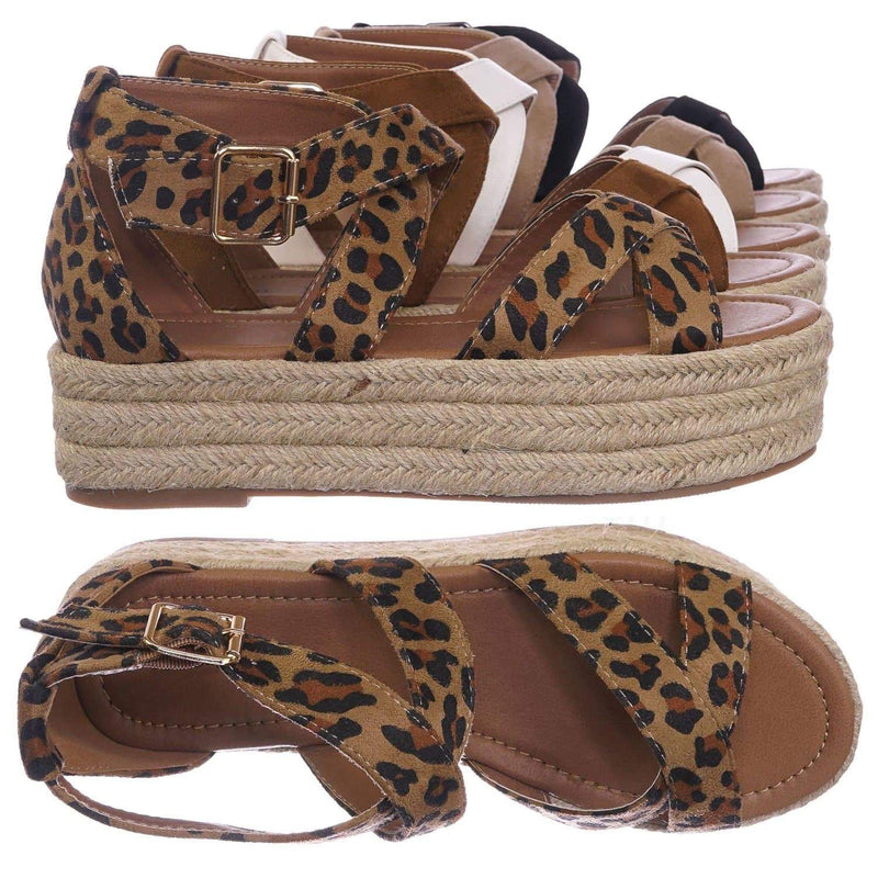 Leopard Brown / Fatima1 Leopard Wrapped Espadrille Jute Flatform Sandal - Summer Open Toe Braided Shoe