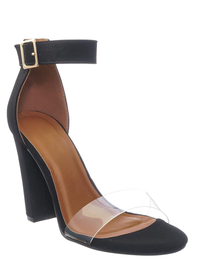 Black Nubuck / Kimberly3 Clear Lucite Chunky Heel Sandals - Womens Dressy Open Toe Shoes