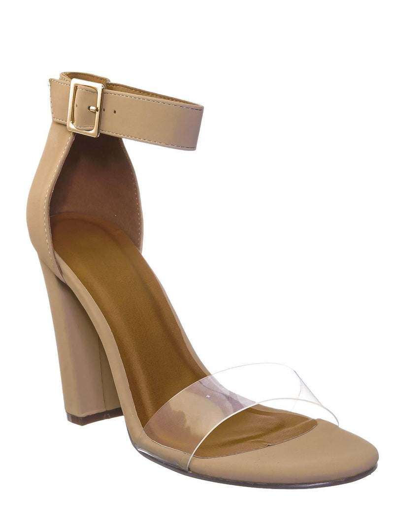 Nude Beige / Kimberly3 Clear Lucite Chunky Heel Sandals - Womens Dressy Open Toe Shoes