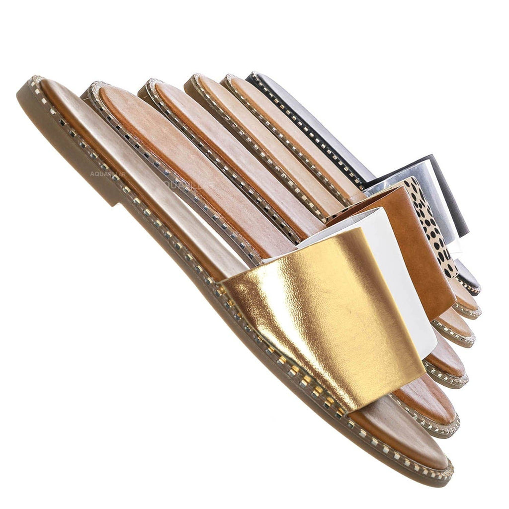 Gold Pu / Micah Punk Rock Metal Stud Welt Slide - Women Hardware Slipper Flat Sandals
