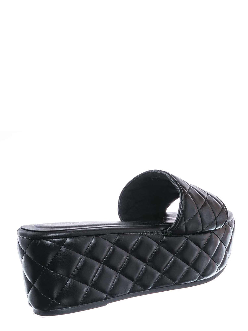 Black / Purchase23 Quilted Flatform Slipper Mule - Platform Diamond Stitch Slide Sandals