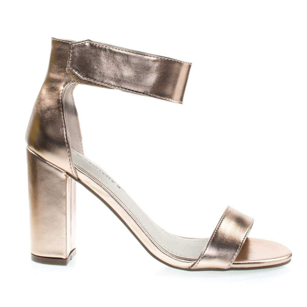 Aniston12 Rose Gold By Breckelle's, High Block Heel Sandal w Hook & Loop Ankle Strap