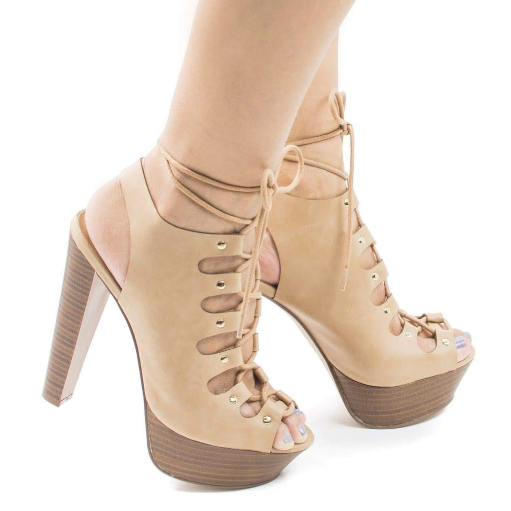 Betsey45 Beige Pu By Breckelle's, Corset Lace Up Sling Back Platform High Stacked Chunky Heels