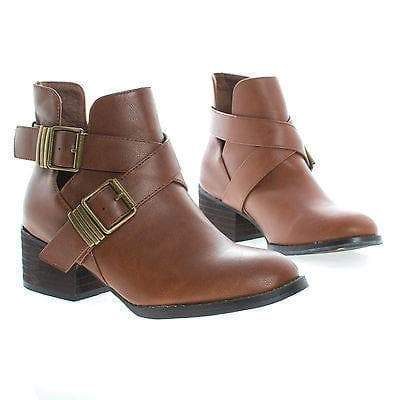 Bronco11 By Breckelles, Cut Out Criss Cross Buckle Faux Wooden Heel Ankle Boots