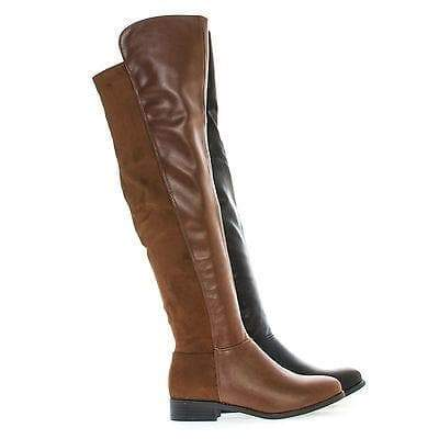 Kansas14 Black Pu By Breckelle's, Over Knee Round Toe Dual Fabric Zip Up Riding Boots