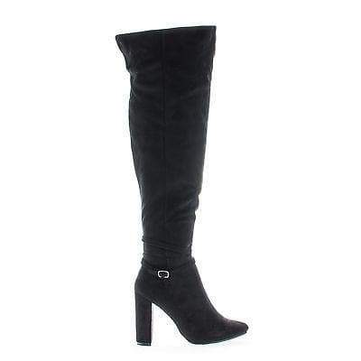 Lisa13 Black By Breckelle's, Over Knee Zip Up Pointy Toe Block Heel Boots
