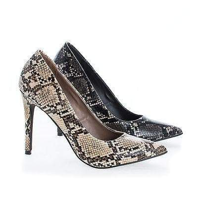 Lydia14 Beige Snake By Breckelle's, Pointy Toe Snake Print Slip On Stiletto Heel Pumps