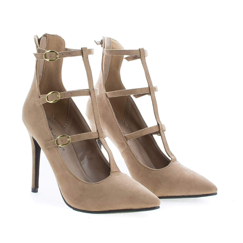 Lydia21 By Breckelle's, Pointy Toe Multi Buckle T-Strap Stiletto Heel Pumps
