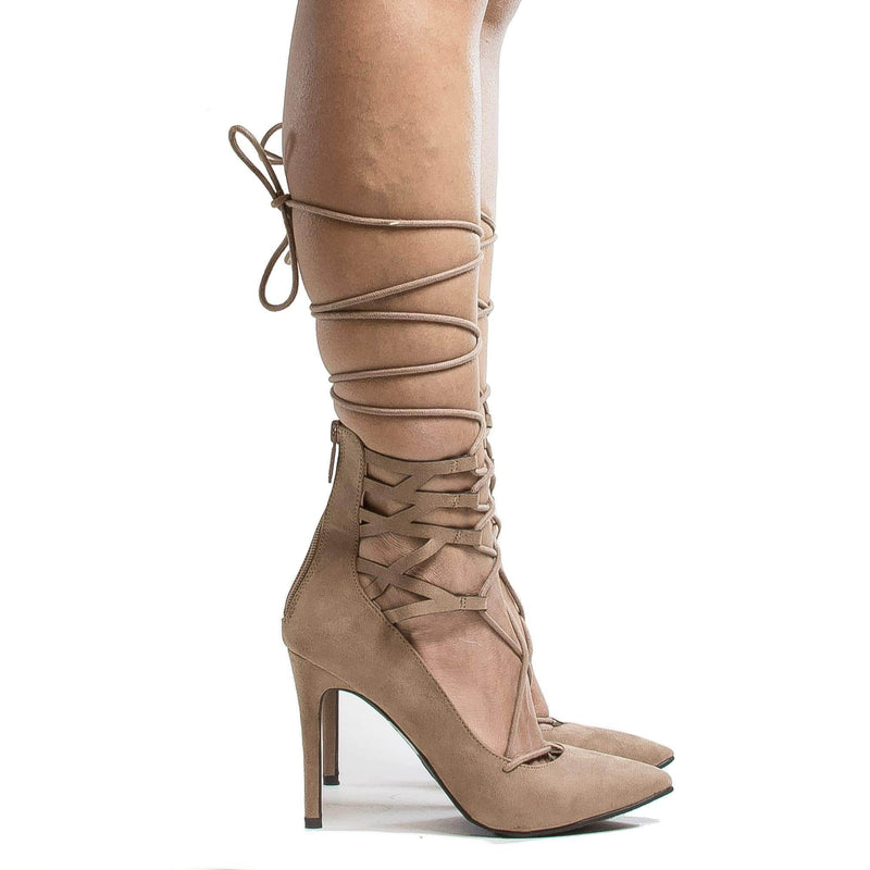 Lydia22 Gold Pu By Breckelle's, Pointy Toe Cuffed Corset Lace Up Ankle Wrap Stiletto Heels