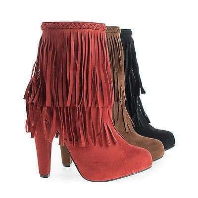 Phoebe11 Black By Breckelle's, Almond Toe Western Fringe Block Heel Ankle Boots