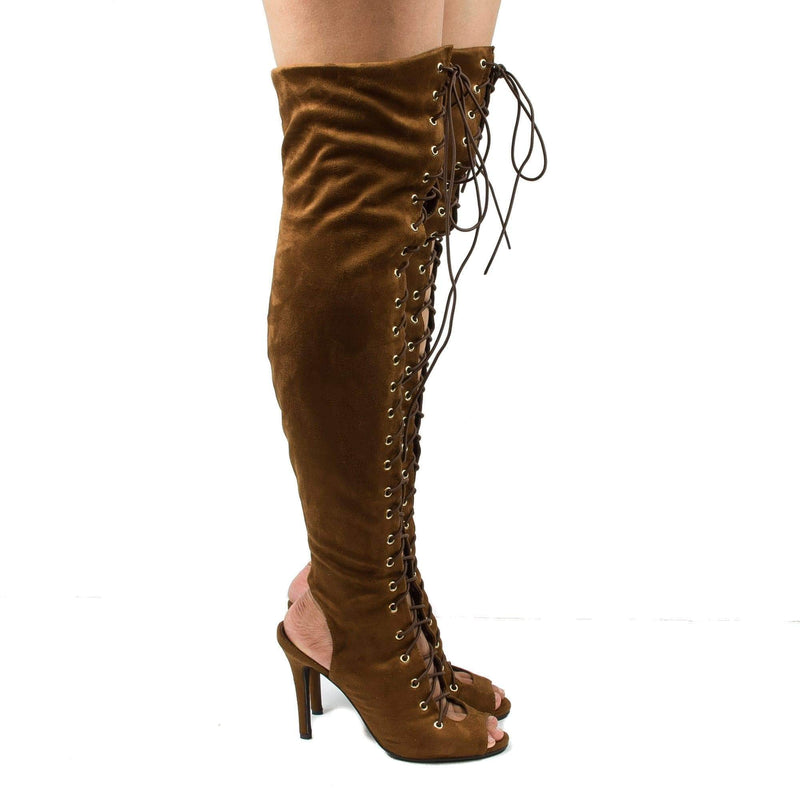 Randi23 Tan By Breckelle's, Corset Boots Thigh High Peep Toe Lace Up Stiletto High Heel Boots