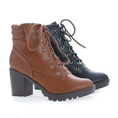 Ranger21 Tan Pu By Breckelle's, Round Toe Lace Up Padded Collar Lug Sole Ankle Combat Boots