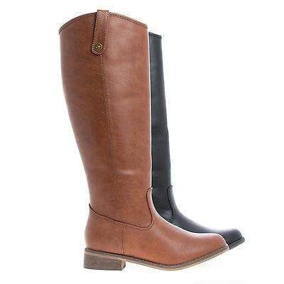 Rider18 Tan Pu By Breckelle's, Knee High Almond Toe Western Faux Wooden Heel Riding Boots