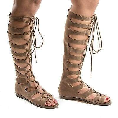 Rita71 Beige By Breckelle's, Knee High Gladiator Corset Lace Up Flat Open Toe Sandals