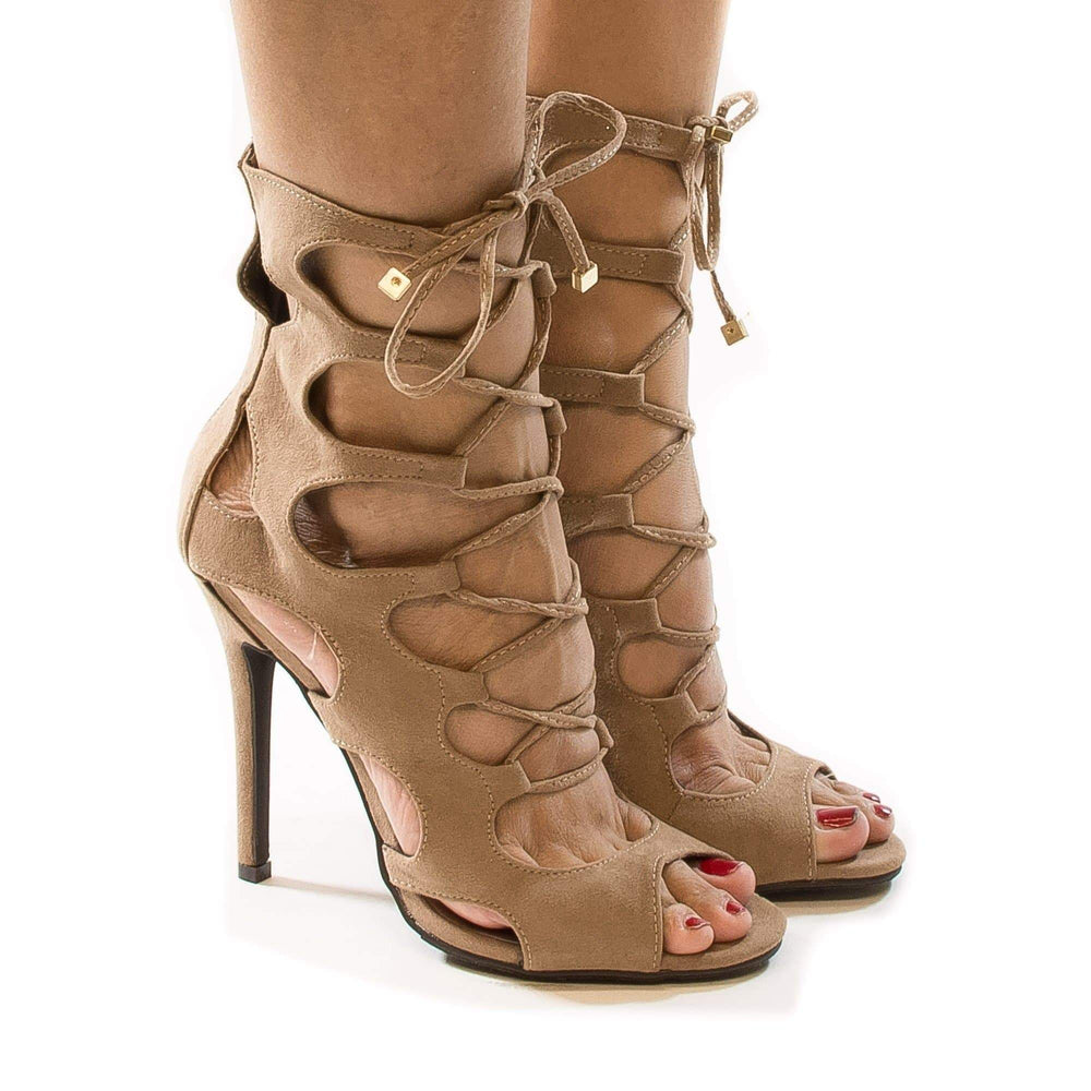 WOMENS LADIES HIGH HEEL LACE UP WRAP AROUND CAGED PEEP TOE SANDALS SHOES SIZE