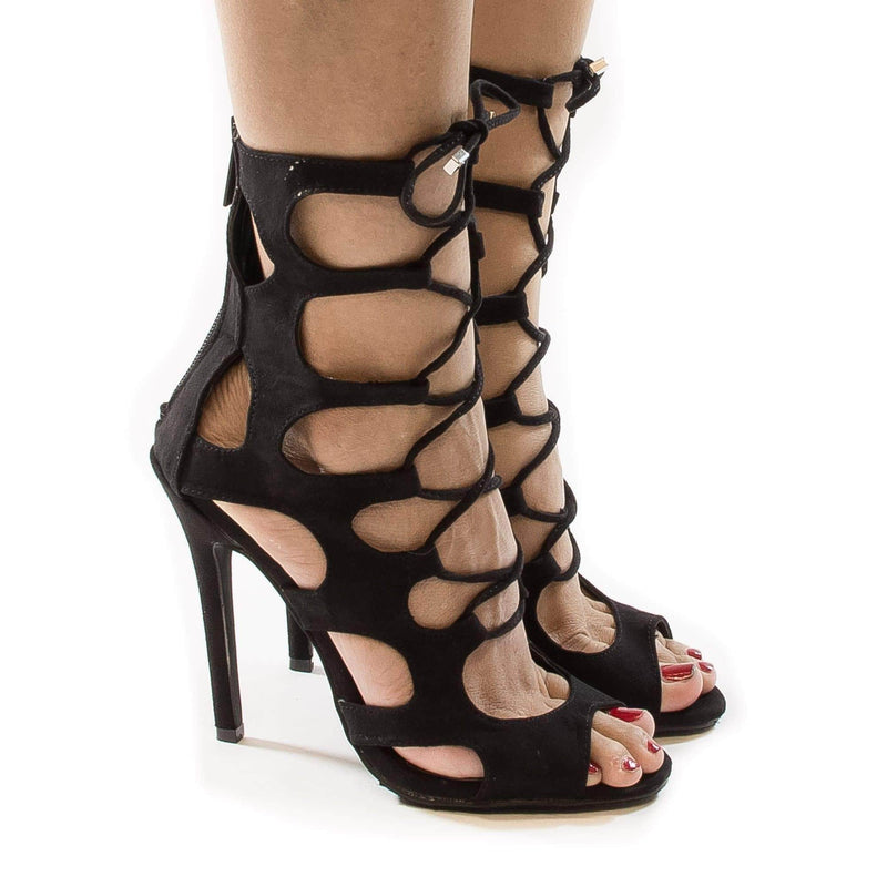 Roma51 Red By Breckelle's, Cut Out Caged Corset Lace Up Ankle Wrap Stiletto High Heels