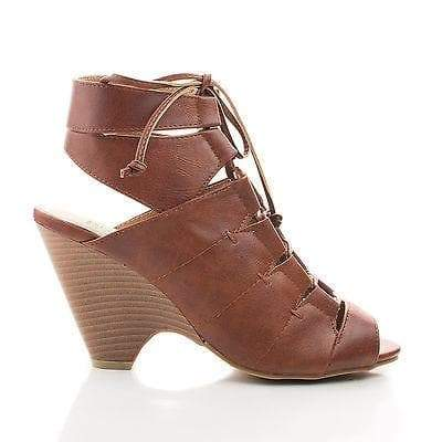 France02 Brown Pu By Bumper, Peep Toe Strappy Cut Out Back Wedge Heel Sandals