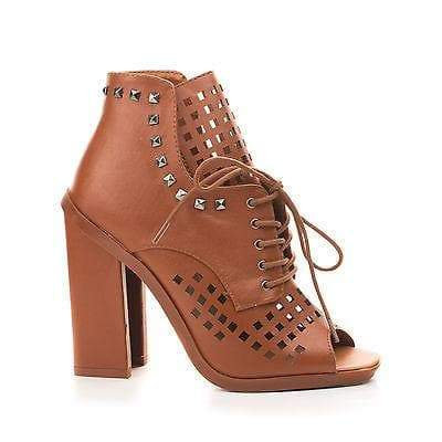 Iverson09 By Bumper, Studded Peep Toe Lace Up Laser Cut Out Ankle Sandals