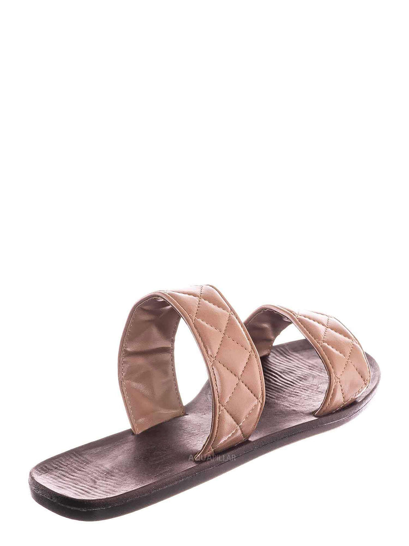 Terra Cotta Brown / Moonbeam65 Quilted Double Strap Slides - Summer Slip On Flat Slipper Sandal
