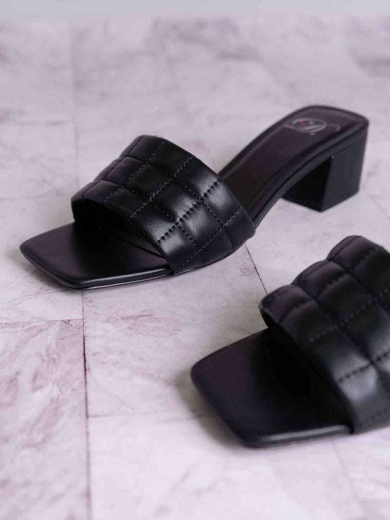 Byway Puffy Quilted Block Heel Mule - Women's Open Squared Toe Retro Slides