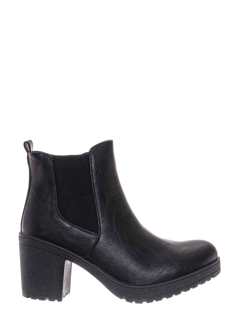 Black / Status50 Block Heel Chelsea Boot - Chunky Block Heel Zip Up Ankle Bootie