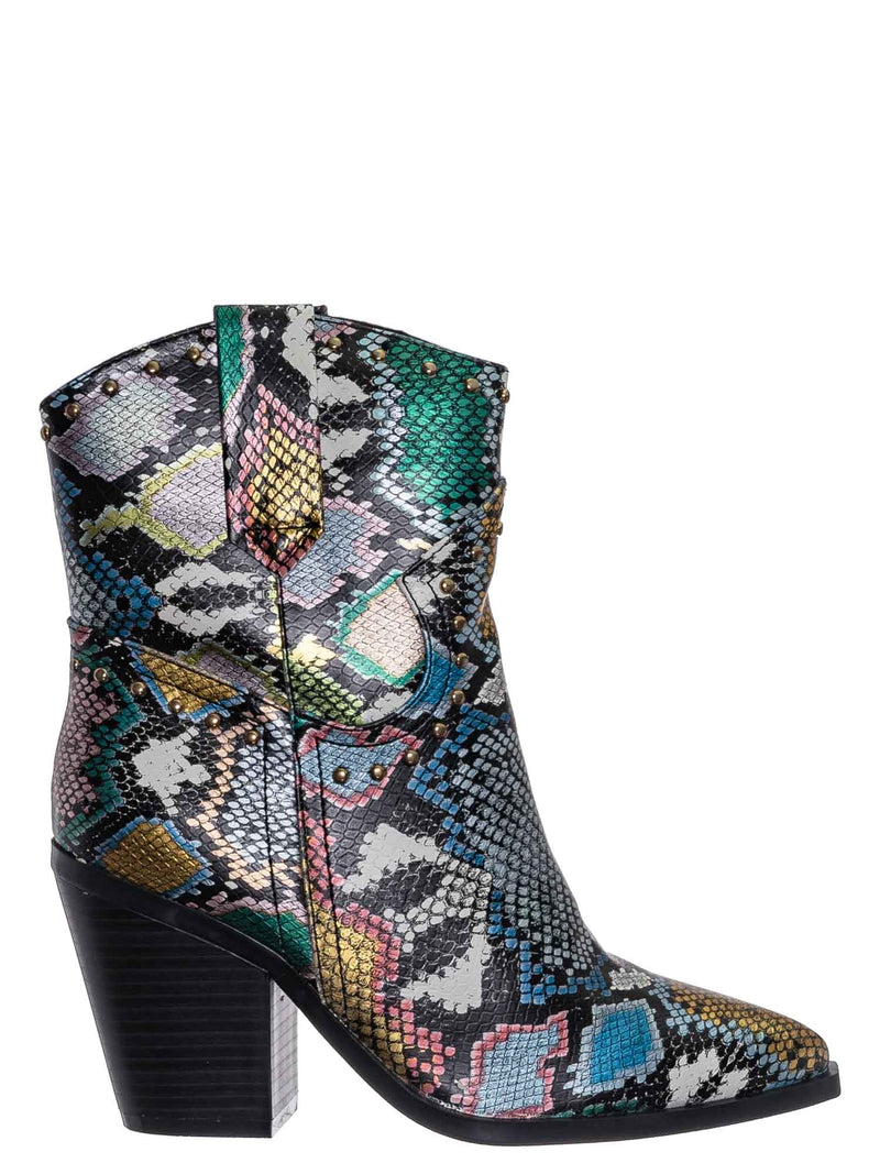 Multi Snake Print / Upstream06 Western Cowgirl Boots - Womens Cowboy Shoes w Metal Rivet Detail