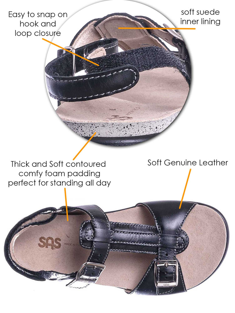 Black / Captiva T Strap Molded Footbed Sandal - Women Slingback Comfortable Foam Shoe
